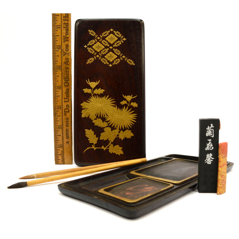 Vintage SUZURIBAKO JAPANESE WRITING BOX Original Contents GOLD on LACQUERED WOOD