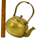 "Antique HEAVY BRASS TEAPOT 5.5"" Hand-Engraved YIN & YANG Flower-WHALE-Bird-HORSE"