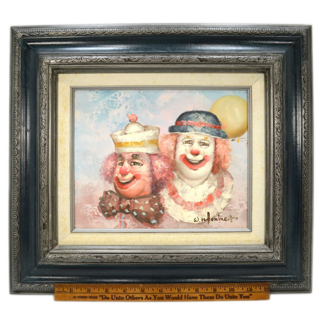 Original HAPPY CLOWNS OIL PAINTING on 8x10 Canvas SIGNED W  MONINET Wood  Framed