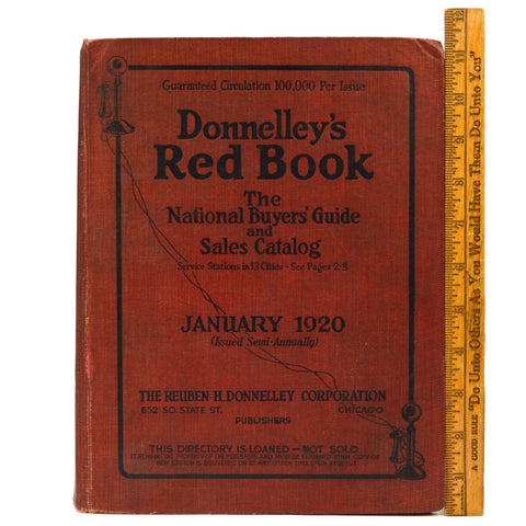 Vintage DONNELLEY'S RED BOOK January 1920 NATIONAL BUYERS GUIDE & SALES CATALOG