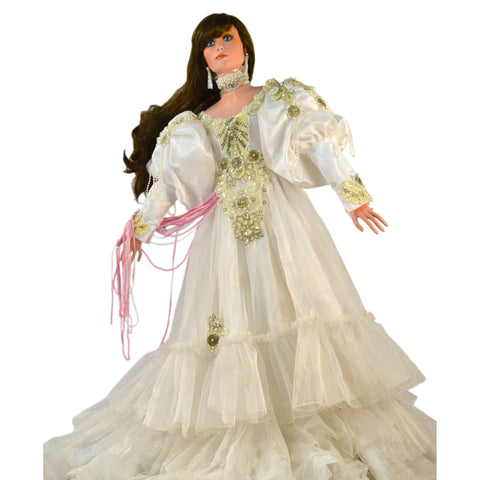 "Limited RUSTIE 42"" PORCELAIN DOLL ""HEAVENLY PRINCESS"" White Dress #189/1500 Rare"
