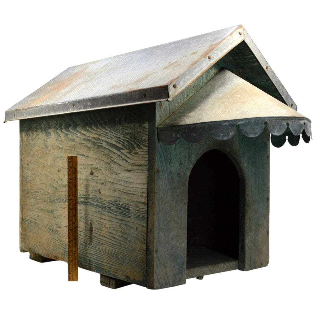 Vintage Homemade Dog House Wood W Tin Roof Superb Old