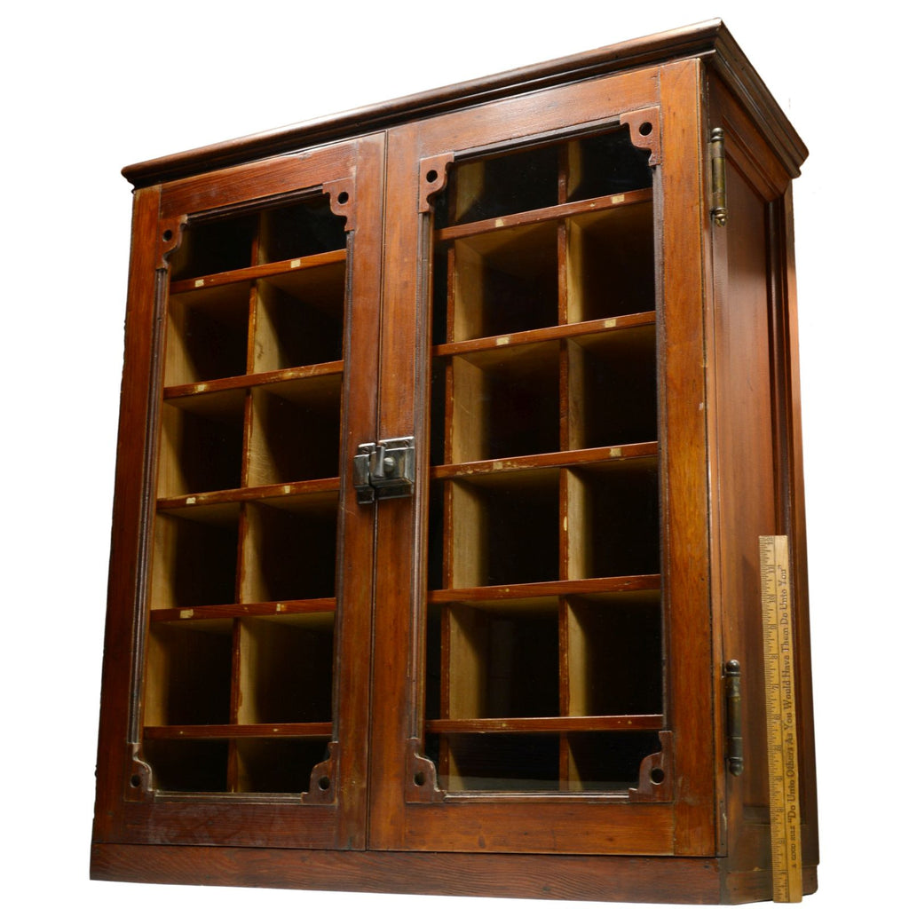 Vintage MAIL CUBBY SORTER CABINET Hardwood & Glass 30-CUBBIES ...