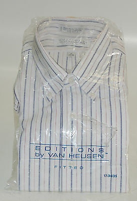 Dress Shirt Editions by Van Heusen Men 17 34/35 White w/ Blue Stripes !!NEW!!