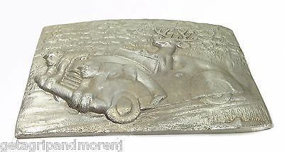Original Cast Aluminum Sculpture Deer with Hunters on the Hood novelty folk art