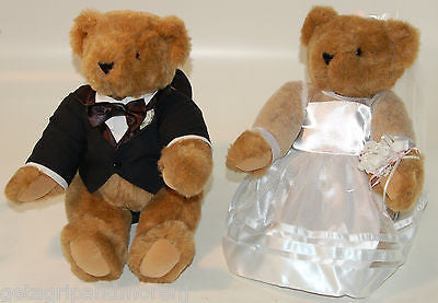 Vermont Teddy Bear Bride And Groom Combo in Tuxedo/Dress Brown VERY CUTE!!!