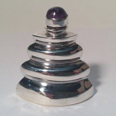 Silver Sterling MEXICO Perfume Bottle Vial PURPLE