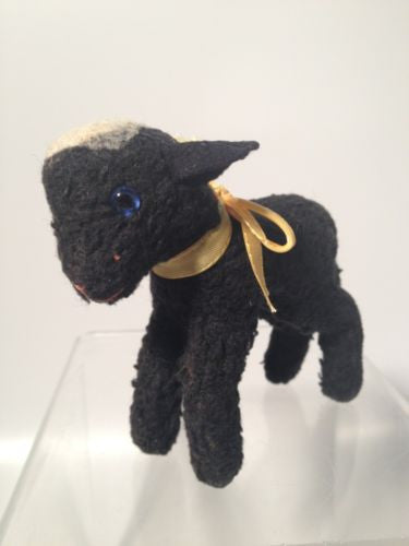 Steiff Black Persian Lamb SWAPL with button in ear, vintage!!