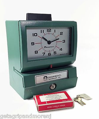 ACROPRINT Model 125 Duty Analog Automatic Print Time Clock w/ extra Ribbon