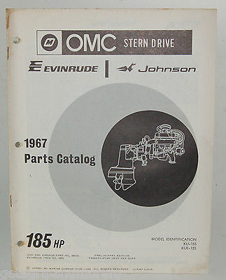 1967 EVINRUDE Parts Catalog 185 HP OMC Stern Drive