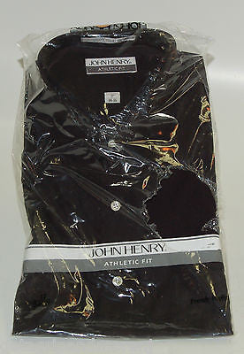 Dress Shirt John Henry Men 17 34/35 Black !!NEW!!