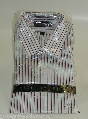 Dress Shirt Geoffrey Beene Men 17 1/2 32/33 White w/ Stripes !!NEW!!