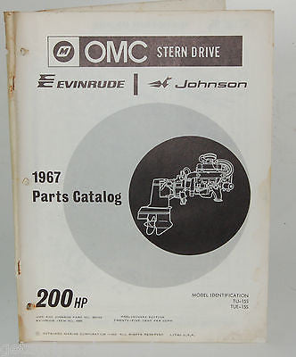 1967 EVINRUDE Parts Catalog 200 HP OMC Stern Drive