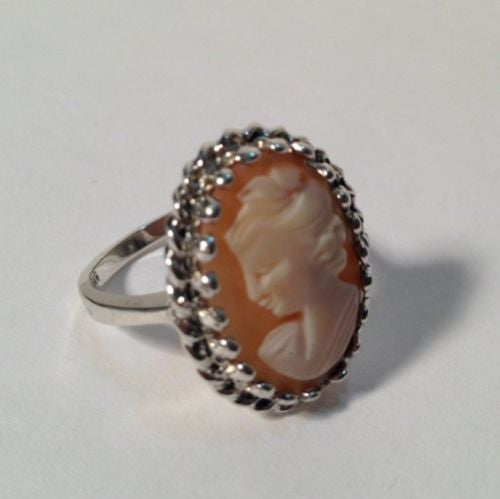 Sterling Silver Cameo Ring Vintage Size 6-1/4