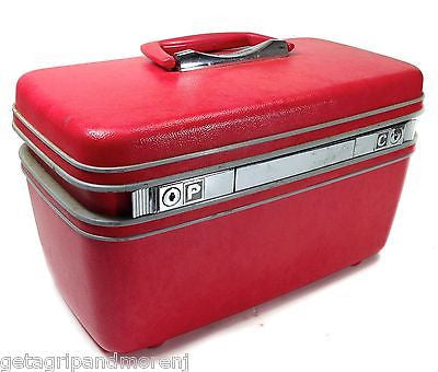 Samsonite Train Case Carry on Luggage Makeup Cosmetic  Dark Red