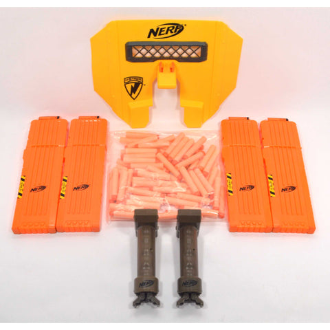 Tested NERF LOT; 2 STAMPEDE ECS (1-Works) 4-LONG CLIPS Shield 2-TRIPODS + Darts!