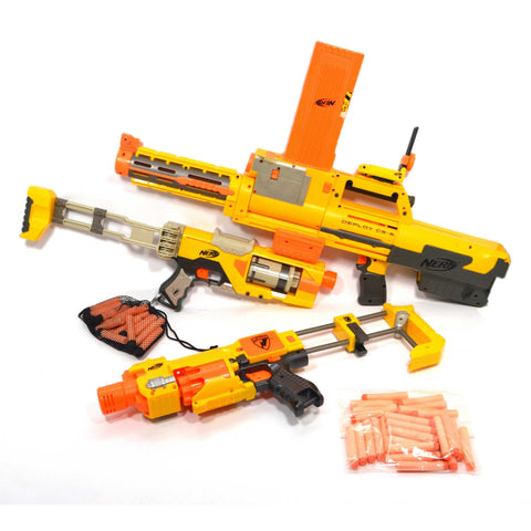 Tested NERF LOT; 3-GUNS & More! DEPLOY-SPECTRE-BARRICADE Long Clip 55 BULLETS +!