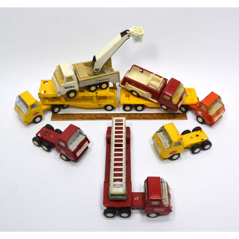 Vintage MINI TONKA 7 VEHICLE LOT Bell System CAR TRANSPORTER Fire Truck FLATBED+