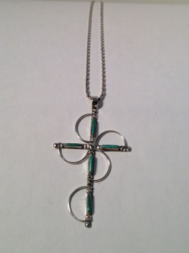 Sterling Silver Chain With Beautiful Cross Charm With Turquoise Stones