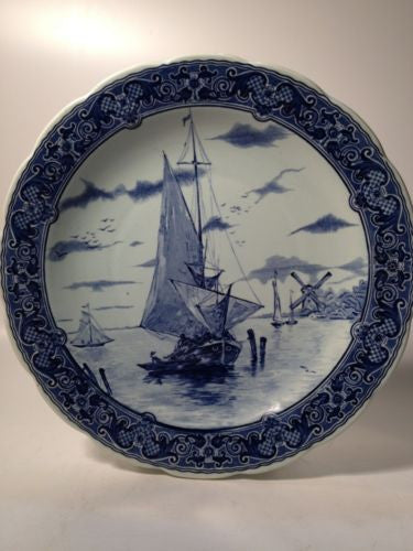 Delft Blue Wall Plate Handpainted Sailboats And Windmill