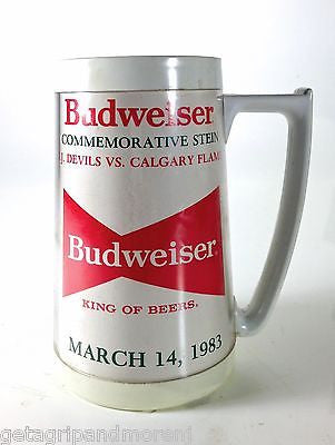 2 Budweiser Beer Steins 1983 New Jesey Devils Calgary Flames commemorative Stein