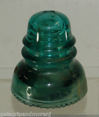 Hemingray 40 Insulator Antique Blue Green Glass Made in U.S.A.