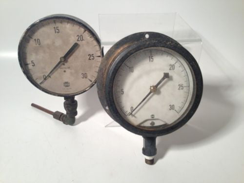 2 Vintage GAUGES Steampunk Gage USG LARGE 5 Inch Low Pressure Steam Punk