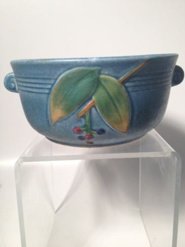 Weller Blue Cornish Pottery Bowl with Handles!!