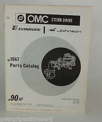 1967 EVINRUDE Parts Catalog 90 HP OMC Stern Drive