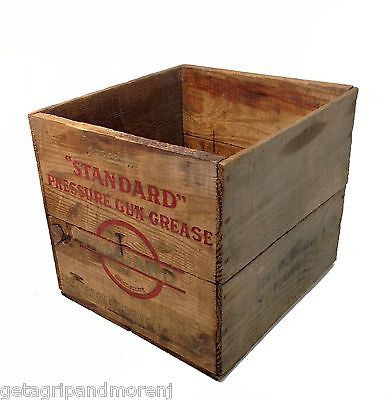 Wooden Shipping Crate Standard Pressure Gun Grease  Vintage Collectible Antique