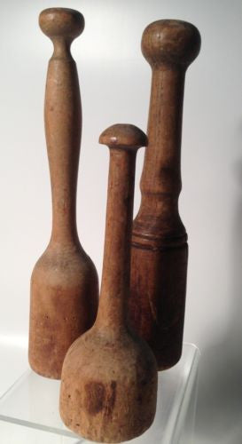 Wooden Mashers Antique Primitive - Set Of Three!!