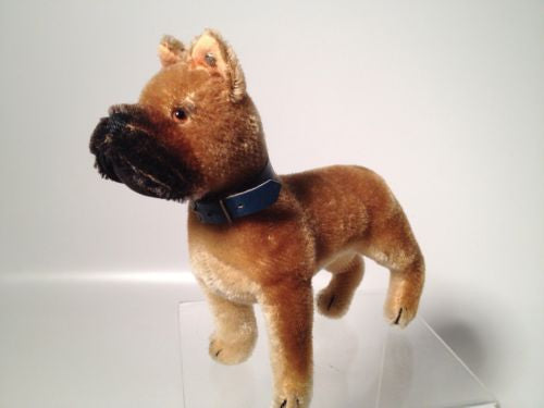 Steiff Sarras Mohair Boxer Dog Blue Collar And Silver Ear Button