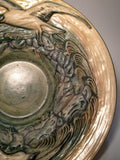 Weller Pottery Glendale Bowl Embossed With Birds And Waves, Stamped Weller Mark