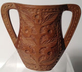 Primitive Hand Carved Solid Wood Folk Art Vase!