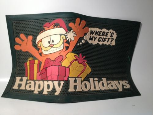 GARFIELD The Cat Rubber Door Mat Christmas Happy Holidays!
