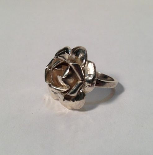 Sterling Silver Pretty Rose Flower Ring - Size 5