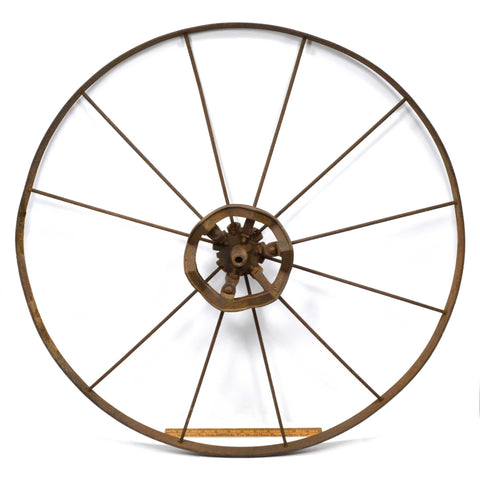 "Antique ADJUSTABLE SPOKE WHEEL Huge! 30.25"" dia 11-Spokes *MISSING 1* Marked ""3"""