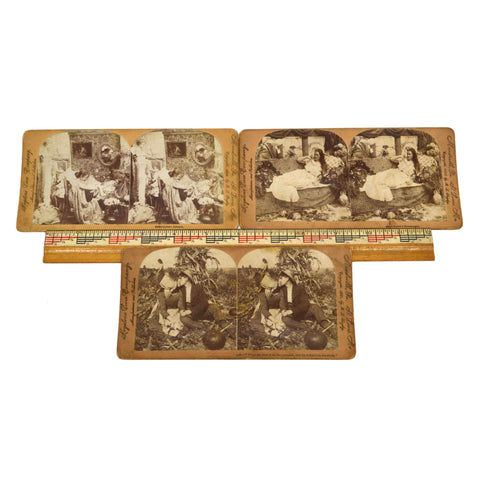 Antique STEREOSCOPE CARD Lot; 3 LOVE THEME STEREOVIEWS Keystone View c.1899-1900