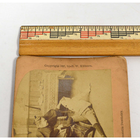 Antique STEREOSCOPE CARD Rare STEREOVIEW Domestic Dentistry #11933 B.W. KILBURN