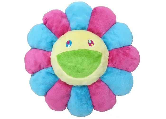 Happy Flower Pillow - Pink/Blue