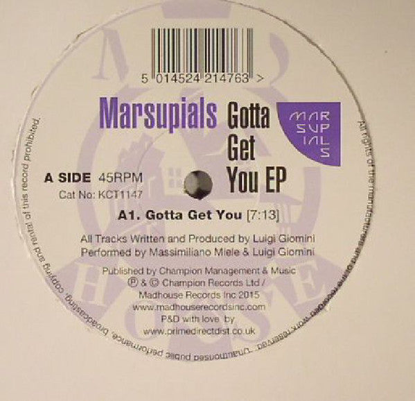 Marsupials ‎– Gotta Get You EP