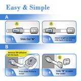 Child Safety Strap Locks (4 Pack) For Toilet, Fridge, Cabinets, Drawers, Dishwasher, Drawers - 3M Adhesive - No Drilling