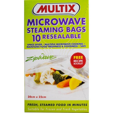 MULTIX PK10 MICROWAVE STEAMING BAGS RESEALABLE 20cm x 22cm