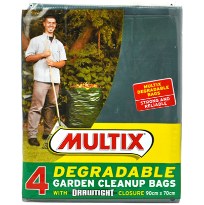 Multix 4pk degradable garden bags  (90cm x 70cm) - w/ drawtight closure