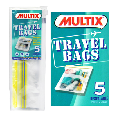 Multix 5pk resealable travel bags