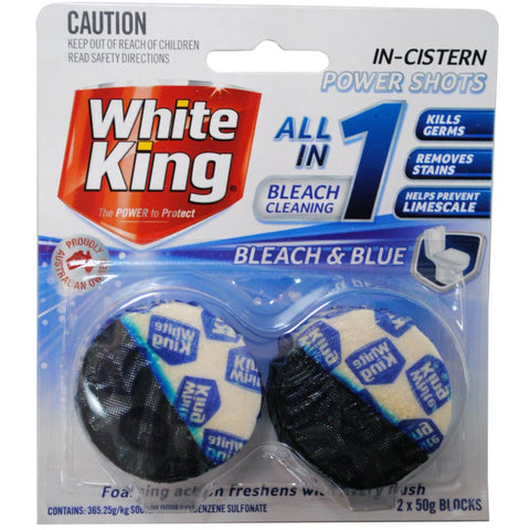 White King 2x 50g all-in-one power shots bleach