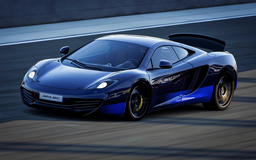 blue mclaren mp4 12c giclee canvas art print poster – wow posters