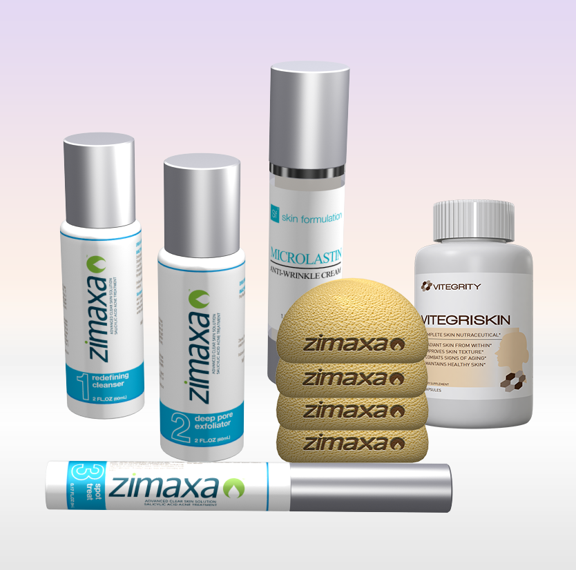 <strong>ZIMAXA Deluxe Kit</strong> <br>(3 Step Kit, 4 Sponges, Anti-Aging & Skin Supplement)
