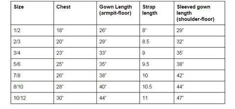 Girls sizing
