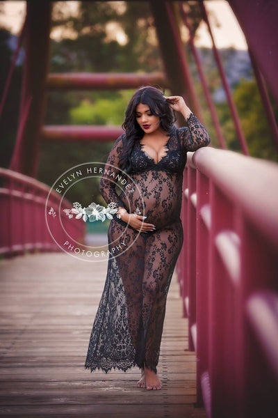 Brava black Lace Maternity Dress - ready to ship,sheer dress, boudoir, robe,photo props